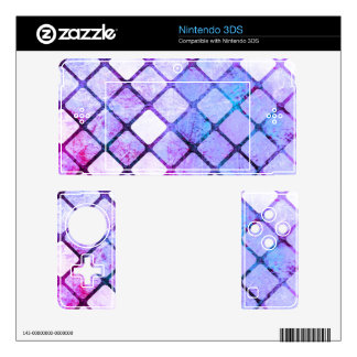 Purple Tiled Geometric Design Decals For 3DS