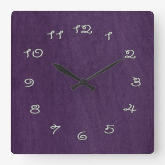 purple time square wall clock