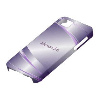 Purple Tint Stainless Steel Metalli Look- Monogram iPhone SE/5/5s Case
