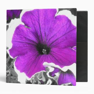 Purple Tinted Black and White Petunias 3 Ring Binder