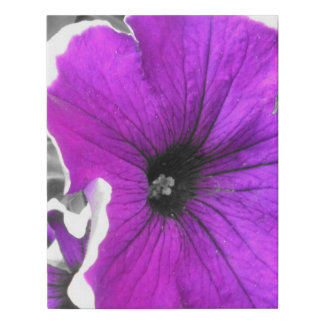 Purple Tinted Black and White Petunias Faux Canvas Print