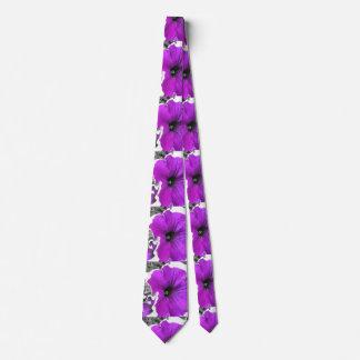 Purple Tinted Black and White Petunias Neck Tie