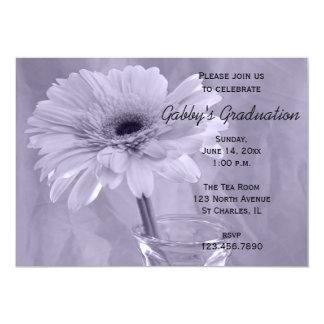 Purple Tinted Daisy Graduation Party Invitation