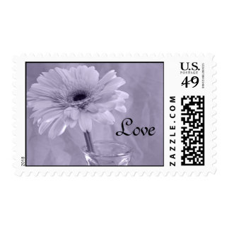 Purple Tinted Daisy Love Wedding Postage Stamps