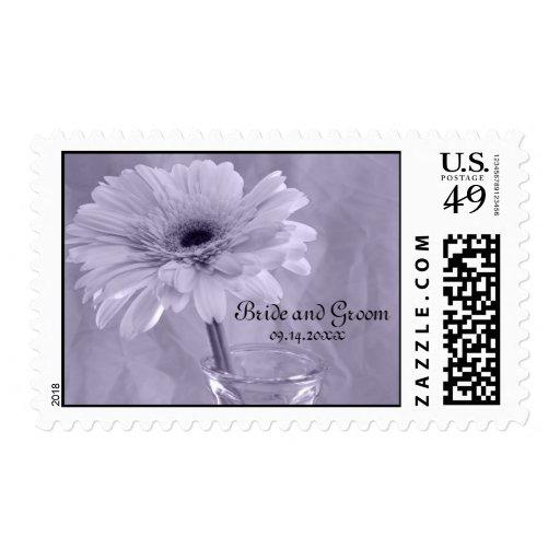 Purple Tinted Daisy Wedding Stamp