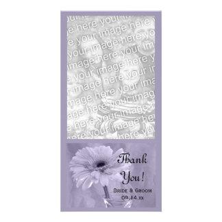 Purple Tinted Daisy Wedding Thank You Photo Card