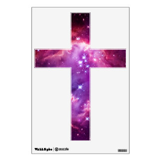 Purple Tinted Galactic Cross Wall Sticker