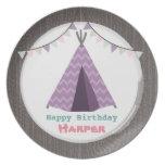 Purple Tipi Birthday Melamine Plate