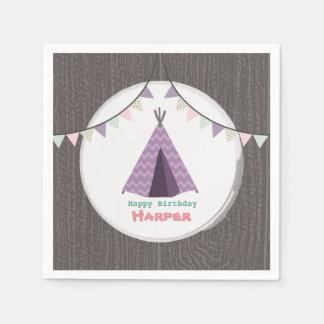 Purple Tipi Birthday Napkins