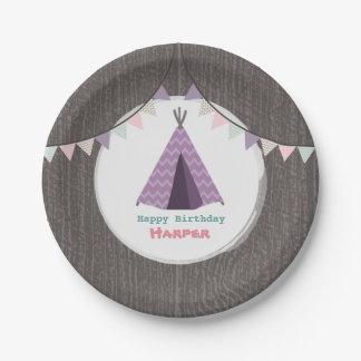 Purple Tipi Birthday Paper Plate