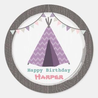 Purple Tipi Birthday Sticker