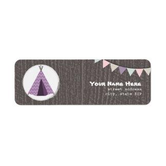 Purple Tipi Camping Birthday Party Address Label