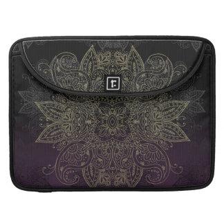 Purple to Black Fade Gold Mehndi Sleeve For MacBook Pro