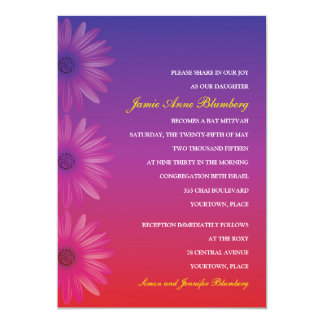 Purple to Red Ombre Daisy Bat Mitzvah 5x7 Paper Invitation Card