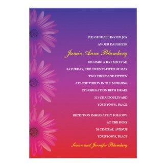 Purple to Red Ombre Daisy Bat Mitzvah Custom Invites
