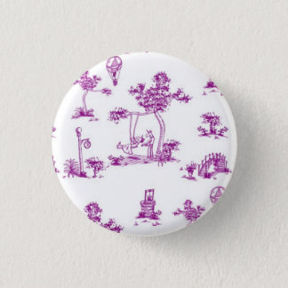 Purple Toile Unicorn Button