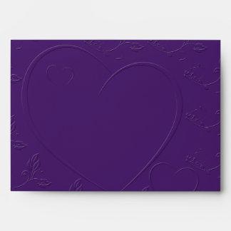 Purple Tone on Tone Linked Hearts Envelope
