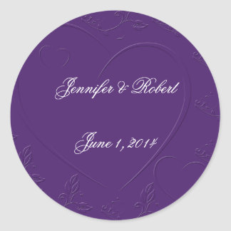 Purple Tone on Tone Linked Hearts Envelope Seal
