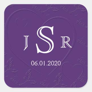 Purple Tone on Tone Linked Hearts Monogram Sticker