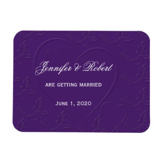 Purple Tone on Tone Linked Hearts Save the Date Magnet