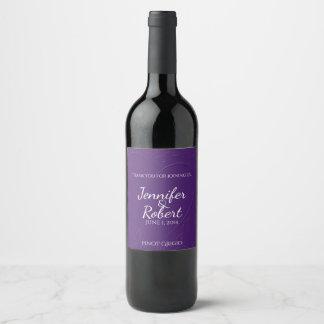 Purple Tone one Tone Linked Hearts Wine Label