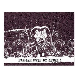 Purple Tooled Leather RSVP Postcard
