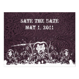 Purple Tooled Leather Save the Date Postcard