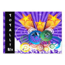 purple totally 80's retro  party Invitation