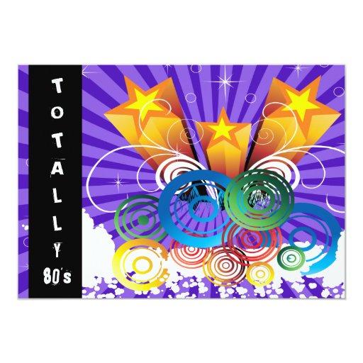 """purple totally 80's retro  party Invitation 5"""" X 7"""" Invitation Card"""