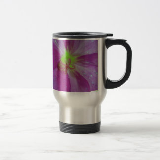 Purple touched bloom sample with yellow center travel mug