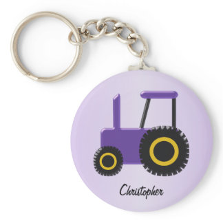 Purple Tractor Just Add Name Keychain
