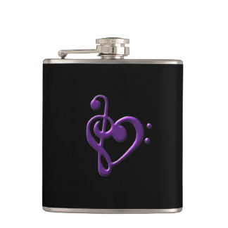 Purple Treble Bass Clef Heart Music Flask