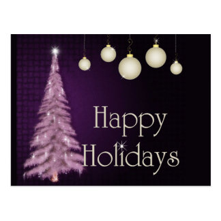Purple Tree Happy Holidays Postcards