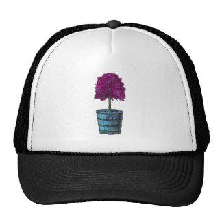 Purple tree in blue bucket image mesh hat