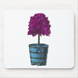 Purple tree in blue bucket image mouse pads
