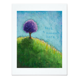 Purple tree landscape art - rest a moment here card