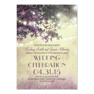 Purple tree Lights & Birds Wedding Invitation