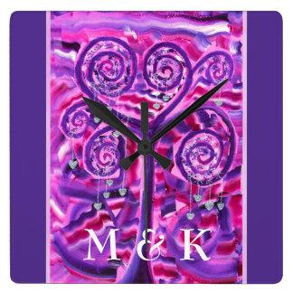 Purple Tree Little Silver Hearts Acrylic Painting Square Wallclocks