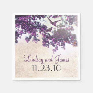 Purple Tree Love Birds Wedding Napkin
