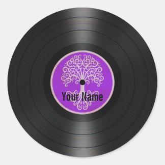 Purple Tree of Life Personalized Vinyl Record Classic Round Sticker