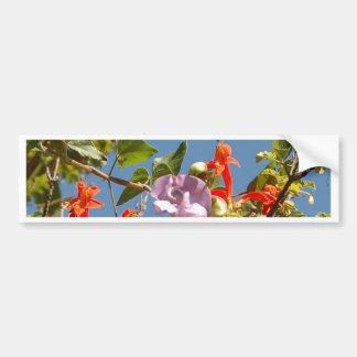 Purple Tree Orchid and Orange Flowers Car Bumper Sticker