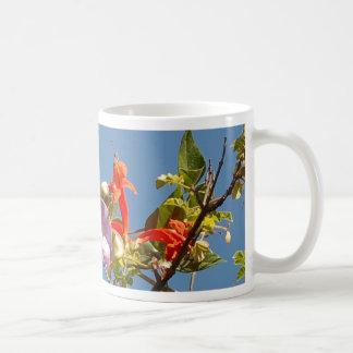 Purple Tree Orchid and Orange Flowers Classic White Coffee Mug