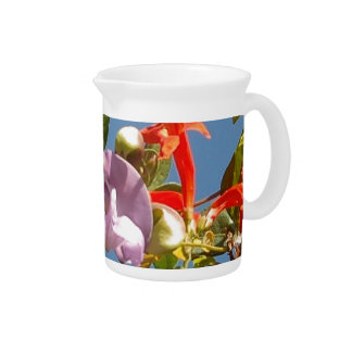 Purple Tree Orchid and Orange Flowers Drink Pitchers