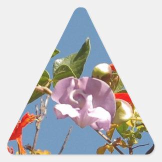 Purple Tree Orchid and Orange Flowers Triangle Sticker