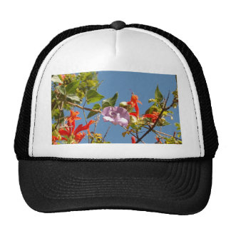 Purple Tree Orchid and Orange Flowers Trucker Hat