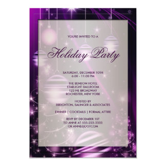 Purple Trees & Christmas Ornaments Holiday Party 5x7 Paper Invitation Card