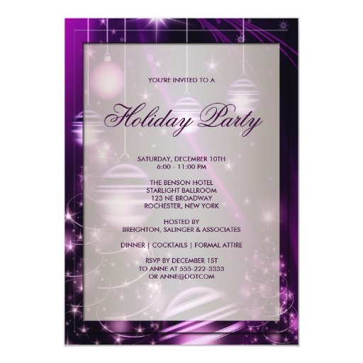 Purple Trees & Christmas Ornaments Holiday Party Announcements