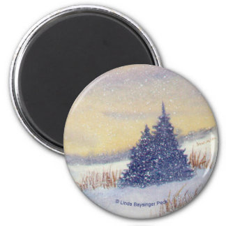 Purple Trees Landscape 2 Inch Round Magnet