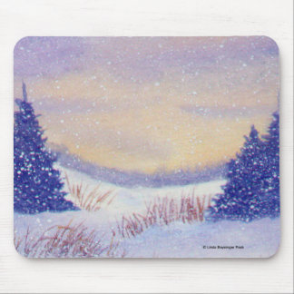 Purple Trees Winter Landscape Mouse Pad