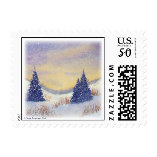 Purple Trees Winter Landscape Postage